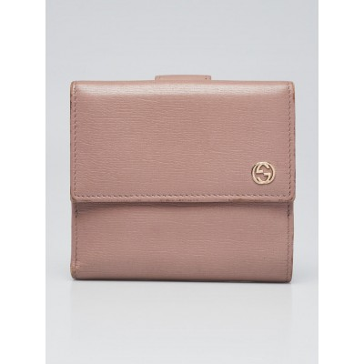 Gucci Pink Leather Betty Shanghai French Flap Wallet