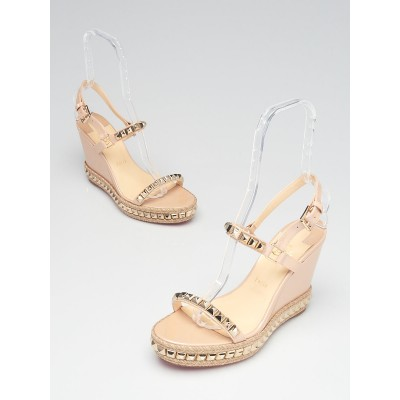 Christian Louboutin Beige Patent Leather Cataclou 110 Espadrille Wedges Size 11.5/42