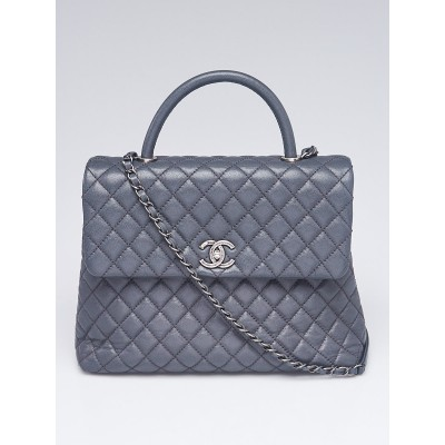 Chanel Grey Quilted Caviar Leather Large Coco Handle Bag