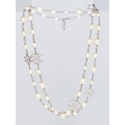 Chanel Glass Pearl and Five Crystal CC Long Necklace