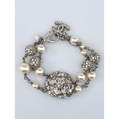 Chanel Glass Pearl and Crystal Camellia Bracelet