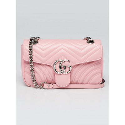 Gucci Pink Quilted Calfskin Leather GG Marmont Small Matelasse Shoulder Bag