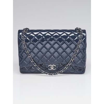 Chanel Navy Blue Quilted Patent Leather Classic Maxi Double Flap Bag