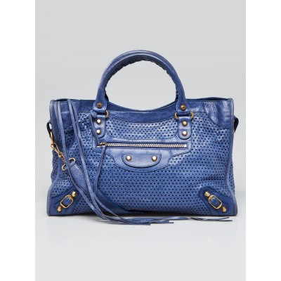 Balenciaga Bleuette Perforated Lambskin Leather Motorcycle City Bag