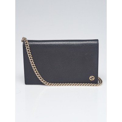 Gucci Black Pebbled Leather Betty Shanghai Wallet-on-Chain Clutch Bag