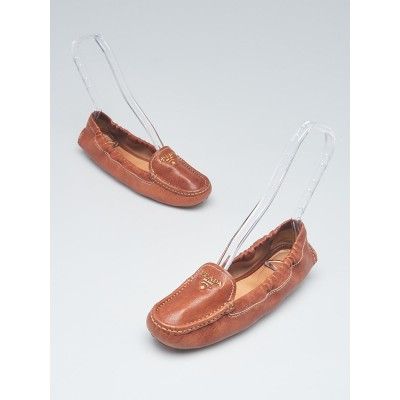 Prada Brown Leather Scrunch Loafers Size 5.5/36