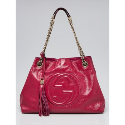 Gucci Dark Pink Pebbled Patent Leather Soho Chain Tote Bag