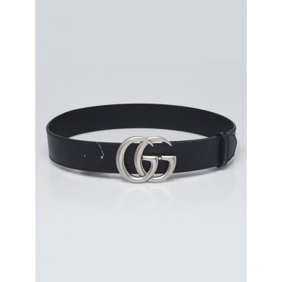 Gucci Black Grained Leather Double G Belt Size 80/32