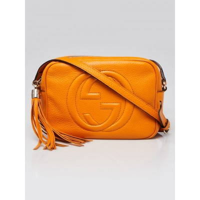 Gucci Orange Pebbled Leather Soho Disco Shoulder Bag