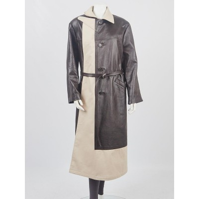 Balenciaga Brown/Beige Leather and Cotton Long Day Coat Size 2/34