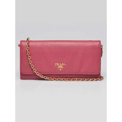 Prada Pink Saffiano Leather Wallet on Chain Clutch Bag 1M1290