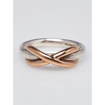 Tiffany & Co. 18k Rose Gold and Sterling Silver Infinity Ring Size 4.5