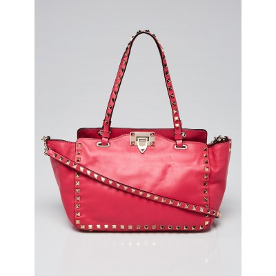Valentino Pink Leather Rockstud Trapeze Small Tote Bag