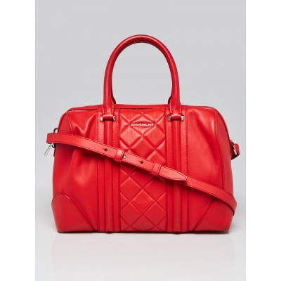 Givenchy Red Quilted Leather Medium Lucrezia Duffle Bag