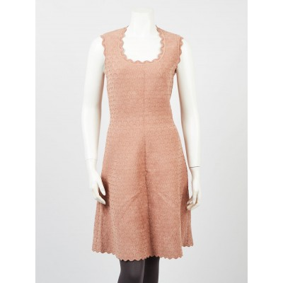 Alaïa Raspberry Dusty Rose Viscose Blend Scalloped Knit Sleeveless Dress Size 8/42