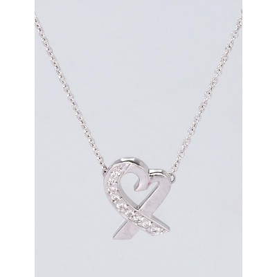 Tiffany & Co. 18k White Gold and Diamonds Paloma Picasso Loving Heart Necklace