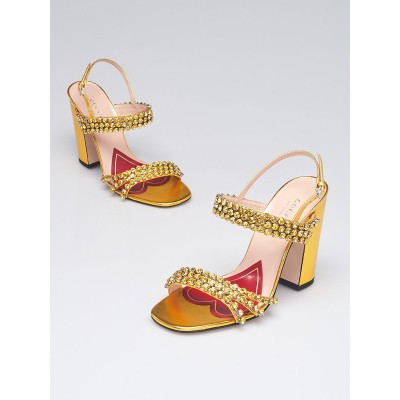 Gucci Gold Leather and Crystal Embellished Block Heel Sandals Size 6/36.5
