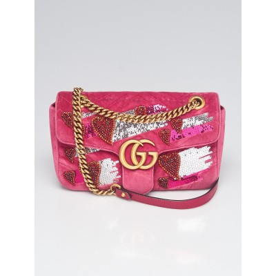 Gucci Limited Edition Pink Quilted Velvet GG Marmont Small Heart Sequin Shoulder Bag