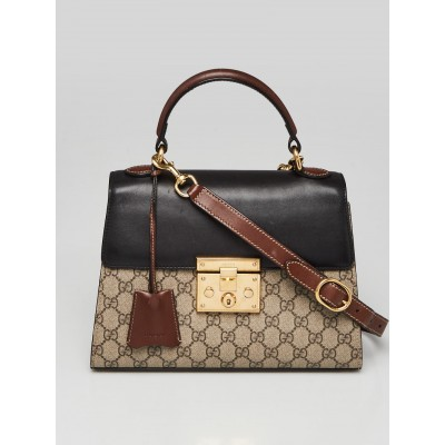Gucci Beige/Black GG Supreme Coated Canvas and Leather Signature Padlock Small Top Handle Bag