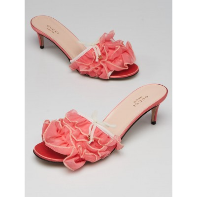Gucci Pink Tulle Ruffle Open Toe Mules Size 7.5/38