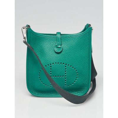 Hermes 16cm Vert Vertigo Clemence Leather Evelyne Amazon TPM Bag