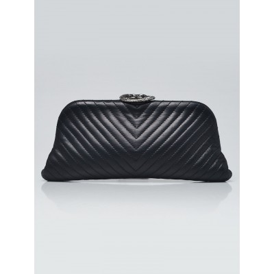 Chanel Black Chevron Quilted Lambskin Leather Small CC Clutch Bag