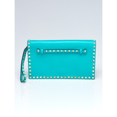 Valentino Turquoise Lambskin Leather Rockstud Small Clutch Bag
