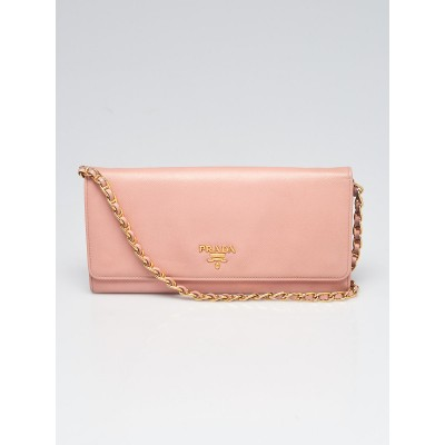 Prada Light Pink Saffiano Metal Leather Wallet on Chain Clutch Bag 1M1290