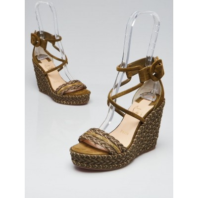 Christian Louboutin Green Suede and Woven Cotton Bodrum Ankle-Tie Espadrille Sandals Size 5.5/36