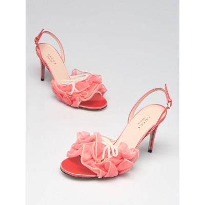 Gucci Pink Tulle Ruffle Open Toe Slingback Sandals Size 5/35.5