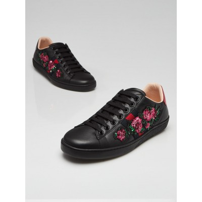 Gucci Black Leather Ace Floral Sequin Sneakers Size 7.5/38