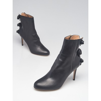 Valentino Black Leather Bow Ankle Boots Size 8/38.5