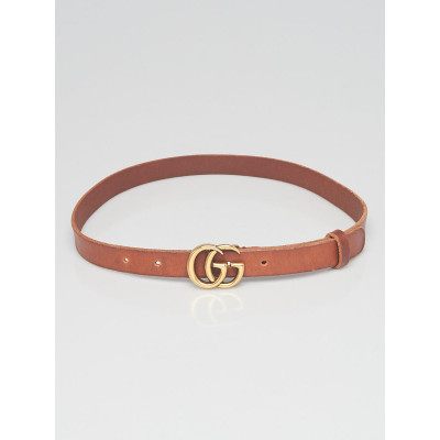 Gucci Brown Leather Slim Double G Belt 70/28