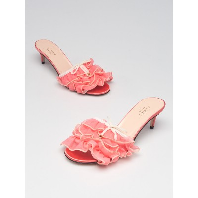 Gucci Pink Tulle Ruffle Open Toe Mules Size 5.5/36