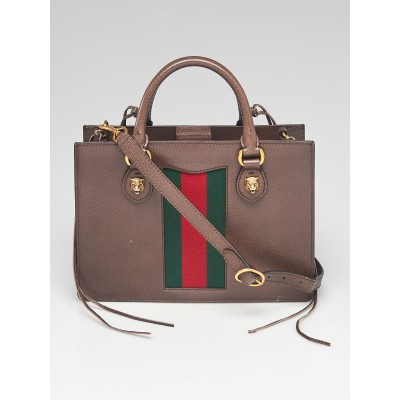 Gucci Brown Leather Animalier Vintage Web Tote Bag