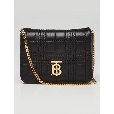 Burberry Black Quilted Lambskin Leather Micro Lola Flap Bag