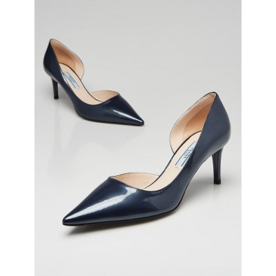 Prada Blue Metallic Patent Leather d'Orsay Pointed Toe Kitten Heel Pumps Size 6/36.5