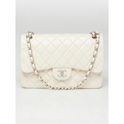 Chanel Ivory Quilted Caviar Leather Classic Jumbo Double Flap Bag