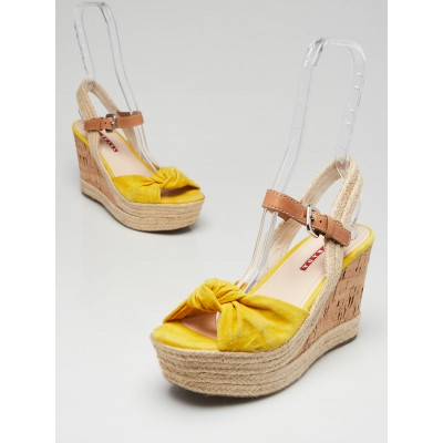 Prada Yellow Suede and Cork Wedge Sandals Size 7.5/38