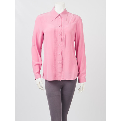 Gucci Pink Pleated Silk Button Up Blouse Size 8/42