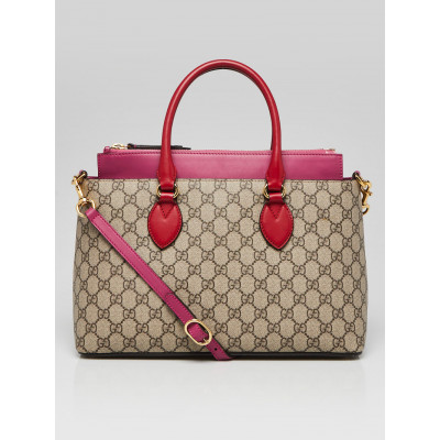 Gucci Beige/Ebony/Pink GG Supreme Coated Canvas and Leather Small Tote Bag
