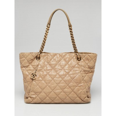 Chane Beige Quilted Caviar Leather Coco Pleats Chain Shopping Tote Bag