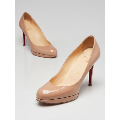 Christian Louboutin Beige Patent Leather New Simple 100 Pumps Size 6/36.5