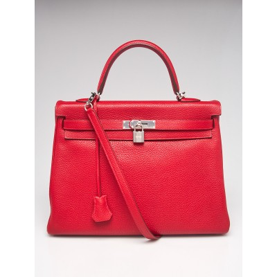 Hermes 35cm Rouge Casaque Clemence Leather Palladium Plated Kelly Retourne Bag
