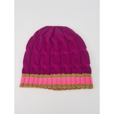 Gucci Purple/Pink Wool Cable Knit Beanie Hat Size M