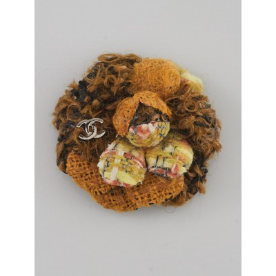 Chanel Yellow/Brown Tweed Small Camellia Brooch