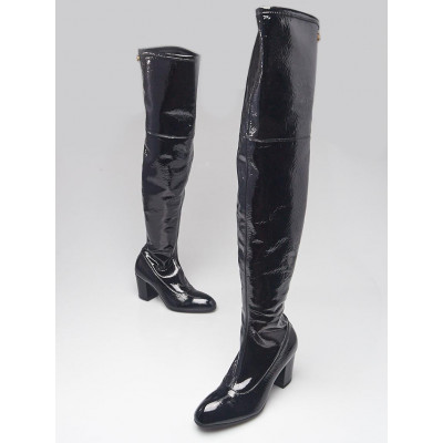 Gucci Black Crinkled Patent Leather Over-the-Knee Boots Size 5.5/36