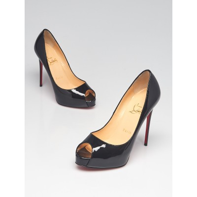 Christian Louboutin Black Patent Leather Very Prive 120 Peep Toe Pumps Size 6/36.5