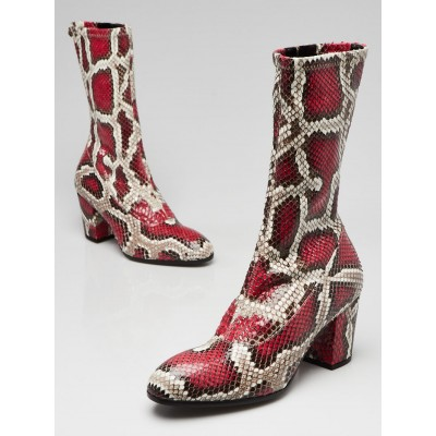 Gucci Red/Beige Python Mid Calf Boots Size 5/35.5