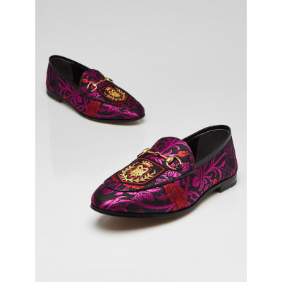 Gucci Floral Black Begonia Fabric Jordaan Loafers Size 6.5/37